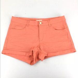 """H&M Coral Cotton Stretch Cuffed 2"""" Inseam Shorts"""